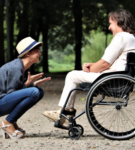 adult in wheelchair with friend